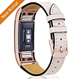 Mornex For Fitbit Charge 2 Bands Leather Straps, Adjustable Genuine Classic Replacement Wristband for Charge 2 Fitness Accessories with Metal Connectors