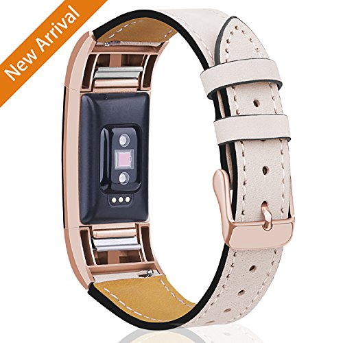Mornex For Fitbit Charge 2 Bands Leather Straps, Adjustable Genuine Classic Replacement Wristband for Charge 2 Fitness Accessories with Metal Connectors by Mornex
