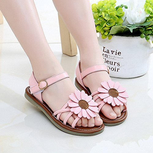 Image of Litfun Kids Girls Cute Flower Open Toe Flat Strap Summer Sandals (Toddler/Little Kid/Big Kid)