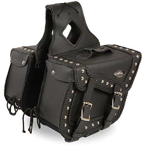 - Milwaukee Leather Medium Braided Zip-Off PVC Throw Over Saddlebags with Studs - One Size