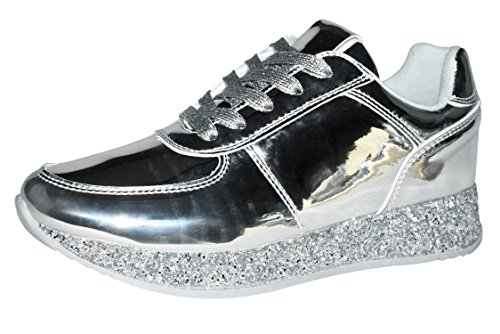 ROXY ROSE Women Fashion Metallic Sneaker Glitter Flatform Quilted Lace Up Casual Shoes 6.5 B(M) US, Silver