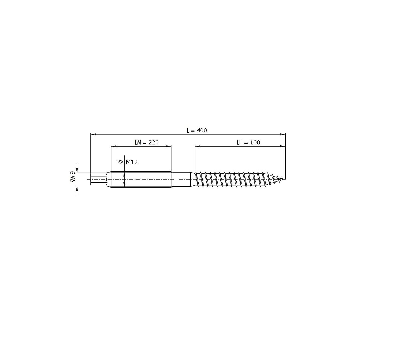 Edelstahl A2 1 St/ück Stockschraube M12 Sechskantansatz SW9 L/änge 400 Aussensechskant