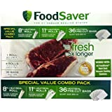 """FoodSaver B005SIQKR6 Special Value Vacuum Seal Combo Pack 1-8"""" 4-11"""" Rolls 36 Pre-Cut Bags, 1Pack, Clear"""