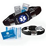 Waterproof ELITE PLUS USB medical ID bracelet, 2 GB USB, 10 lines engraving - (Black)