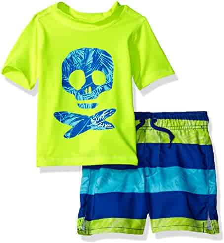 The Children's Place Baby Boys' Rashguard and Swim Trunks Set, Tweak Yellow/Blue Hole, 12-18MOS