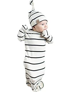 cfbec2f522ff Amazon.com  Infant Baby Tie Nightgown and Matching Hat
