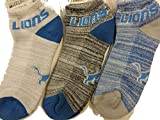 For Bare Feet NFL Detroit Lions 100 RMC Grid Heathered Socks, 3 Pack, Large, New
