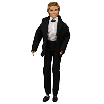 Amazon.com: Ken Doll 3pc Black Tuxedo Suit with Black Tie White ...