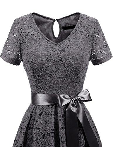 Vestito Vintage Donna Vestiti Grey Casual Pizzo Cerimonia Corta Dresstells Manica dwBSxqwE