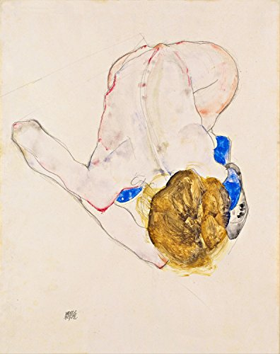 "Nude With Blue Stockings, Bending Forward - Egon Schiele - Giclee Canvas Prints 28"" by 35"" Unframed"