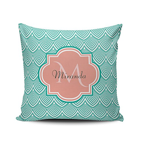 Fanaing Aqua Mint Turquoise Teal Green Fish Scales Pink Monogram Pillowcase Home Sofa Decorative 26X26 Inch European Throw Pillow Case Decor Cushion Covers One-Side Printed