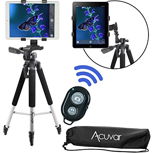 "Acuvar 57"" Inch Pro Series Tripod, Acuvar Tablet Mount, Wireless Shutter Remote for Apple iPad, iPad Air, iPad Mini, Most Other Tablets"