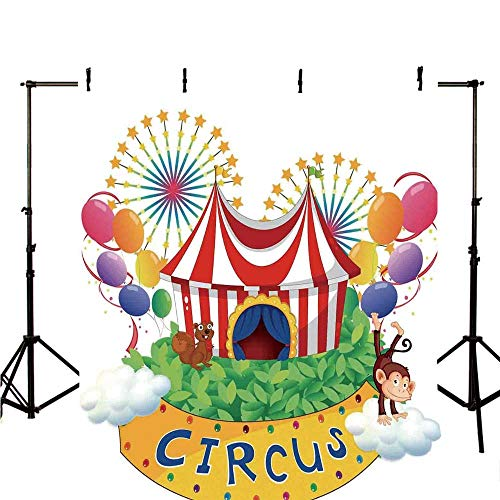 Circus Decor Stylish Backdrop,Carnival with a Circus Signboard Cirque Leaves Plants Fireworks Monkey for Photography,118