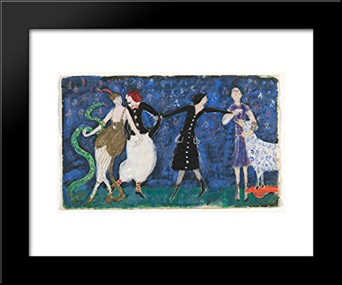 Euridice and her Snake, Two Tango Dancers and St. Francis. Costume design for the artist's ballet Orphée of the Quat'z Arts 20x24 Framed Art Print by Florine (Tango Ballet Costume)