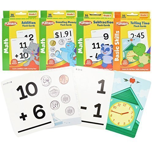 1st Grade Math Flash Cards with Stickers by Playskool - 4 Pack (First Grade Addition Flash Cards)
