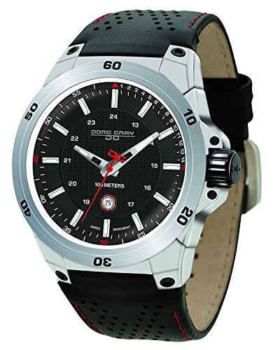 Jorg Gray | Silver Stainless Steel Athletic Watch w/Black Leather Band | JG7800-11 | Black Dial (Jorg Gray Watch)