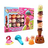 Balancing Tower Game, Ice Cream Tower Balancing Game Stacking Tower Food Pretend Play Toy Set with Scooper Birthday Present for Kids
