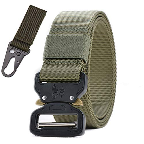 (OutdoorZhShi Military Nylon Men Tactical Belt Army Style Jeans Belt Automatic Metal Buckle Hunting Waist Strap Belt 1 hook1 145cm)