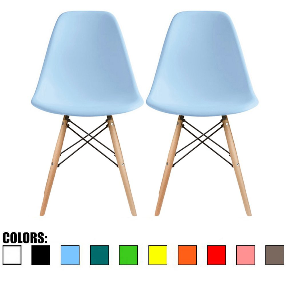 2xhome – Set of Two 2 Blue – Plastic Side Chair Natural Wood Legs Eiffel Dining Room Chair – Lounge Chair No Arm Arms Armless Less Chairs Seats Wooden Wood Leg
