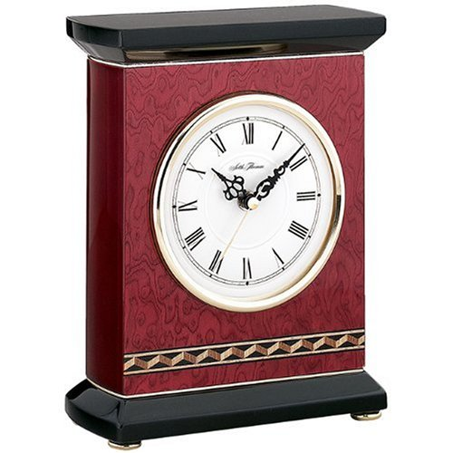 Seth Thomas Rosario High Gloss Red Mahogany and Burl Veneer Finish Case with White Dial Rectangular Desk and Table Clock