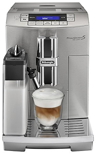 DeLonghi ECAM 28465M PrimaDonna De Luxe S Super Automatic Espresso Latte and Cappucino Machine Coffee Maker with Lattecremma System, Silver