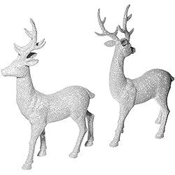 "Renaissance 2000 Inc 10""X16"" White Glitter Reindeer 2pc Set, 2 Piece"