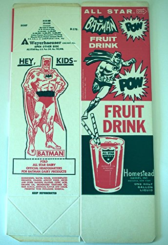 Vintage 1966 All Star Batman Fruit Drink Juice container with Cutout Batman and Mask