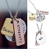 3pcs Fashion Women Faith Silver Believe Strength Pendant Neckalce Chain Jewelry