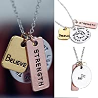 3pcs Fashion Women Faith Silver Believe Strength Pendant Neckalce Chain Jewelry
