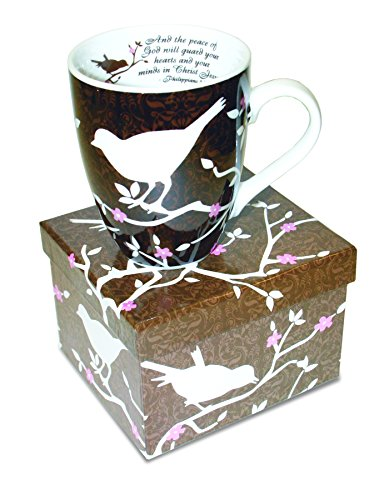 Divinity Boutique Inspirational Ceramic Mug - White Birds on Brown Mug, Philippians 4:7, And The Peace of God Will Guard you, Multicolor from Divinity Boutique