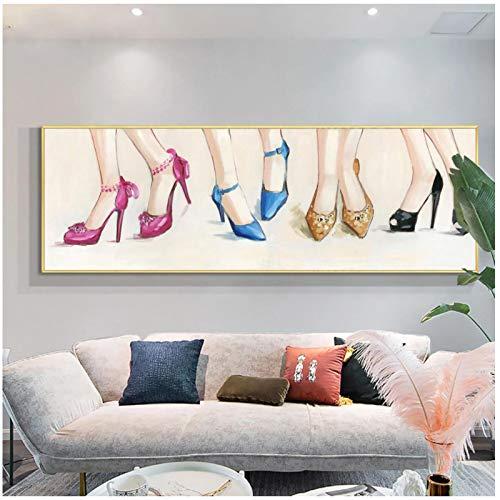 cuadros decoracion salon Zapatos de tacon alto coloridos abstractos Pintura al oleo sobre lienzo Pintado a mano Moderno Arte de pared de gran tamano para la decoracion de la sala de estar 23 6x62 9in