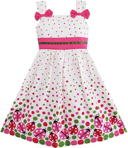 Sunny Fashion Girls Dress Bug Print Colorful Dot Size 8