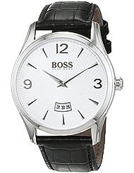 Hugo Boss Mens 1513449 Silver Leather Quartz Watch