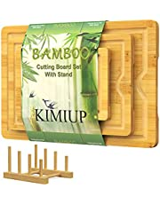 KIMIUP Bamboo Cutting Board Set of 3 Wood Cutting Boards for Kitchen Chopping Board Wooden Cutting Boards with Juice Grooves Easy Grip Handle for Meat Vegetables Serving, with Cutting Board Holder
