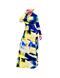 Women's Plus Size Floral Print Long Sleeve Tie Waist Surplice Boho Maxi Dress