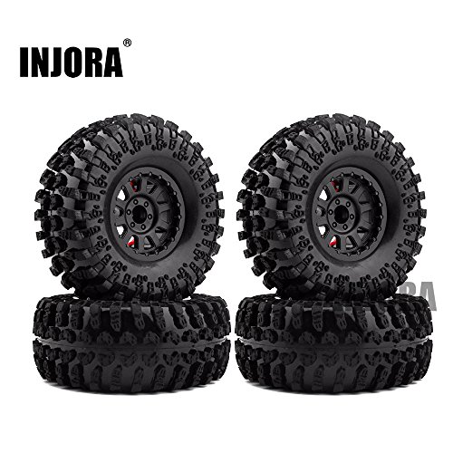 4PCS 2.2 Inch Rubber Tyres & Plastic Beadlock Wheel Rim for 1:10 RC Rock Crawler Axial SCX10 RR10 Wraith Yeti RC Car