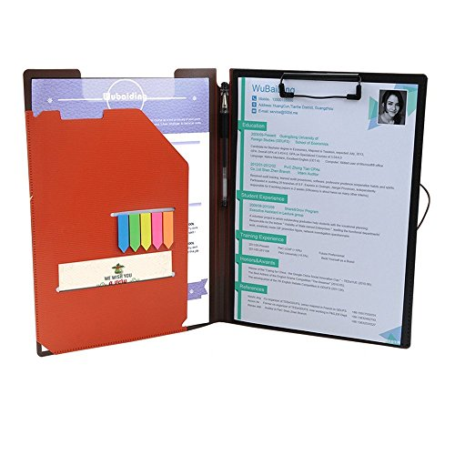 Clipboard Folder File Padfolio Clipboard Storage, Kakbpe Bussiness Letter Size Padfolio with Refillable Notepads, Give a Total of 100 Note Page Markers in Five Colors-Orange, Letter Size (Padfolios Plastic)