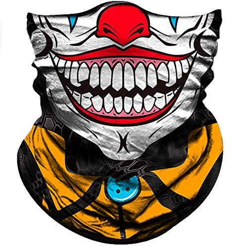 Obacle Motorcycle Face Mask Sun UV Dust Wind Protection Durable Tube Mask Bandana Skeleton Face Mask for Men Women Bike Riding Cycling Biker Fishing Outdoor Festival (Smile Red Nose with Yellow Neck)]()