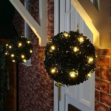 Solar Topiary Ball Sphere / Pagoda / Heart Bush Garden Patio Ornament 20  LED Lights (