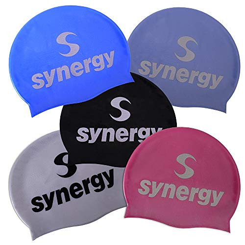 Synergy Silicone Swim Caps 3-Pack (Black/Blue/Silver BL 3-Pack) ()