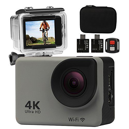 Underwater Sports Camera 4K Ultra HD 2.0 Inch LCD Screen Wifi 170 Degree Wide Angle Action Camera with Two 900mAh Rechargeable Batteries and Mounting Accessories