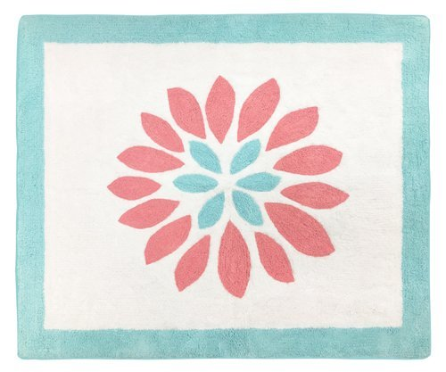 Sweet Jojo Designs Accent Floor Rug for Modern Turquoise and Coral Emma Kids Bedding Collection (Collection Coral)