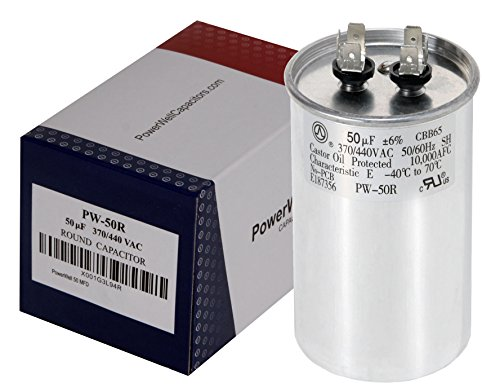 PowerWell 50 MFD uf Motor Run Round Capacitor 370 V VAC or 440 Volt 50 micro farad Pump HVAC PW-50/R - Guaranteed to Last 5 Years Mfd 440v Run Capacitor