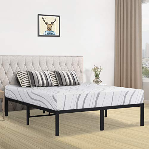 SLEEPLACE 14 Inch Heavy Duty Steel Slat Bed Frame/Non-Slip/U