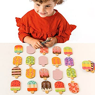 Petit Collage Memory Game, Ice Pops (24 Chunky Cards to Match) : Baby