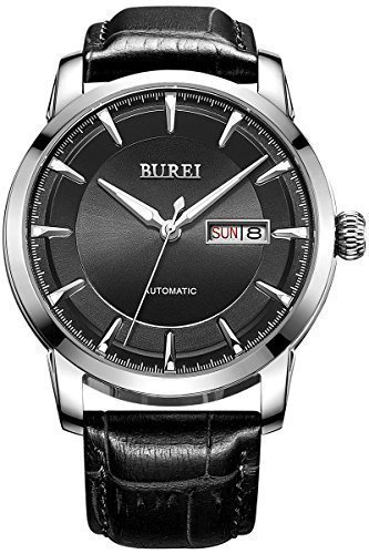 BUREI Men's Luminous Day and Date Automatic Watch with Black Calfskin Band, Silver Bezel Black Dial
