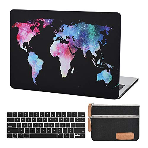 Case Star MacBook Pro 13 Inch Case 2020 2019 2018 2017 2016 Release A1706 A1708 A1989 A2159 Ultra Thin Plastic Hard Sleeve Cover & Keyboard Cover & Small Pouch (Map Pattern-Black)