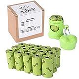 #8: 240 Count Dog Poop Bag with 1 Bone Dispenser-16 Refills Rolls-Compostable,Biodegradable,Degradable-Unscented- Colour:Green