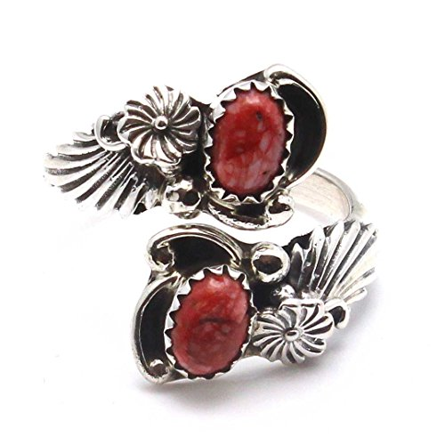 (L7 Enterprises Red Spiny Oyster Shell Adjustable Ring by Navajo Artist Etta Belin)