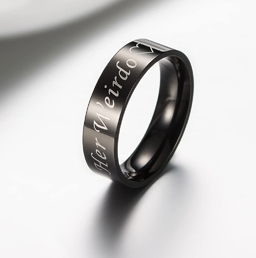Blowin His Crazy//Her Weirdo Heart Ring Black Stainless Steel Engagement Wedding Band for Women Men Couple
